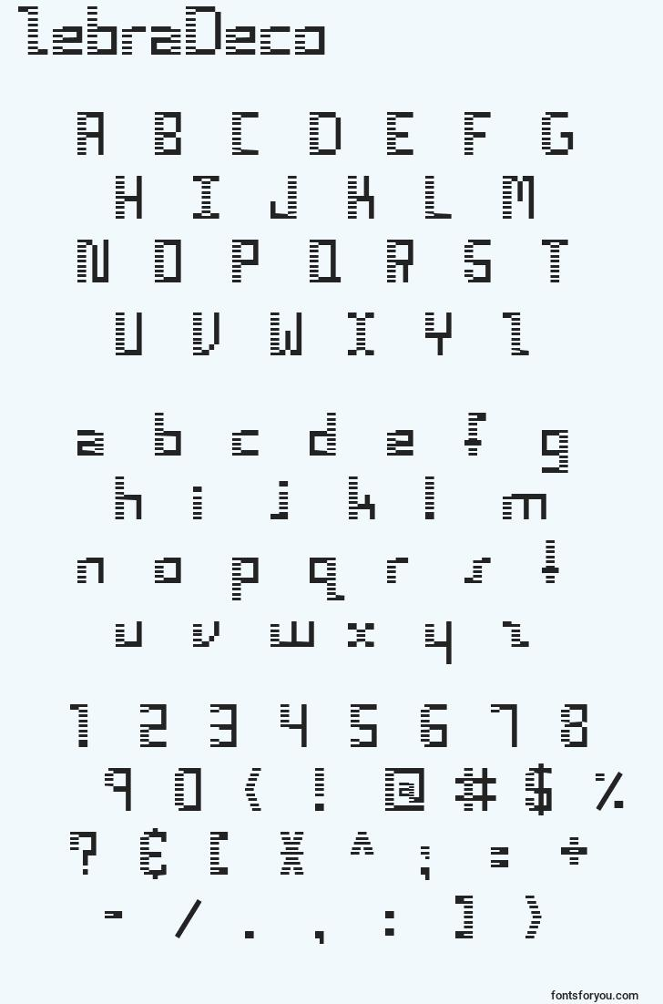 characters of zebradeco font, letter of zebradeco font, alphabet of  zebradeco font