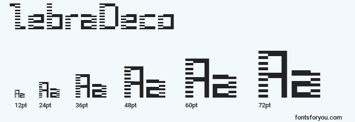 sizes of zebradeco font, zebradeco sizes
