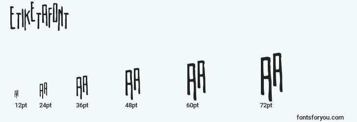 sizes of etiketafont font, etiketafont sizes