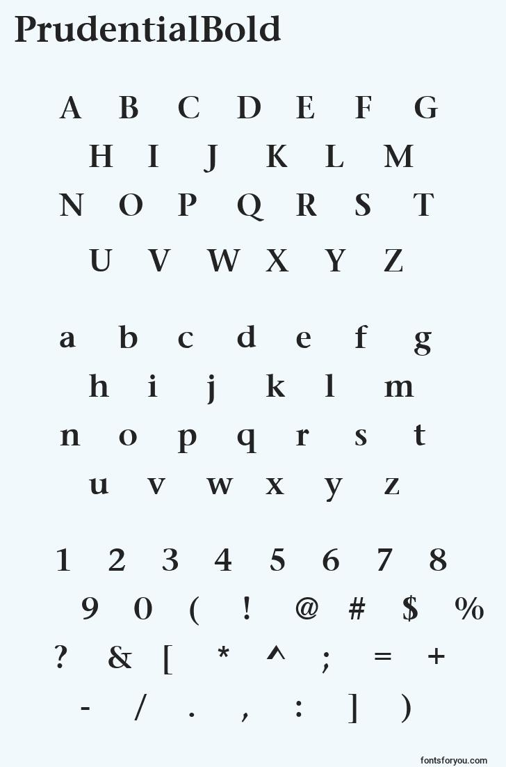 characters of prudentialbold font, letter of prudentialbold font, alphabet of  prudentialbold font