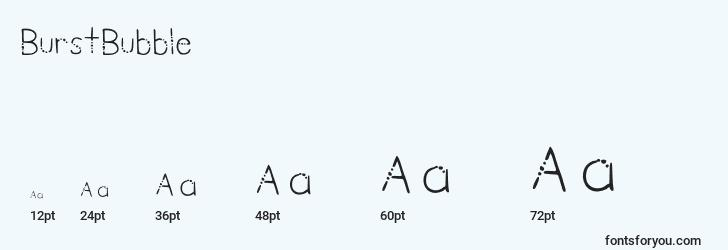 sizes of burstbubble font, burstbubble sizes