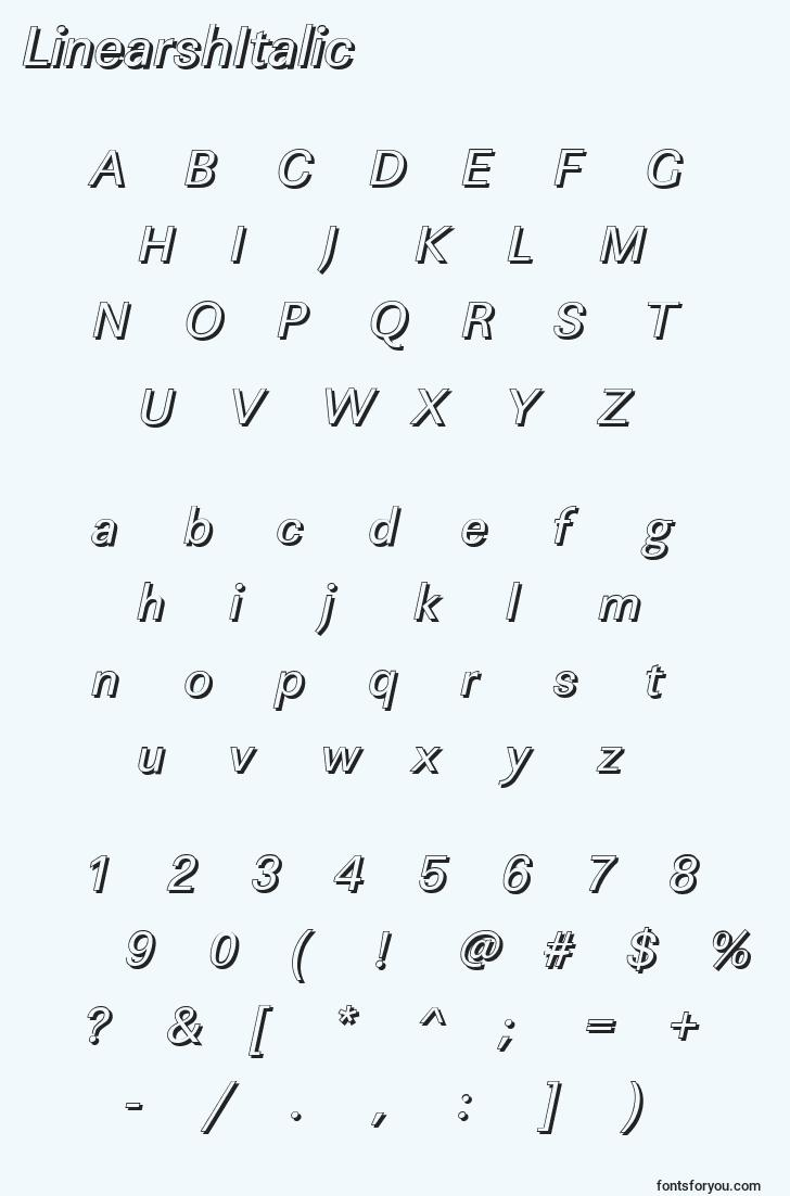characters of linearshitalic font, letter of linearshitalic font, alphabet of  linearshitalic font