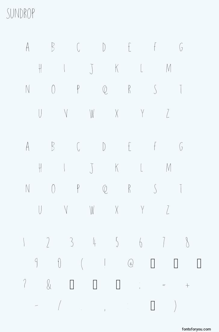 characters of sundrop font, letter of sundrop font, alphabet of  sundrop font