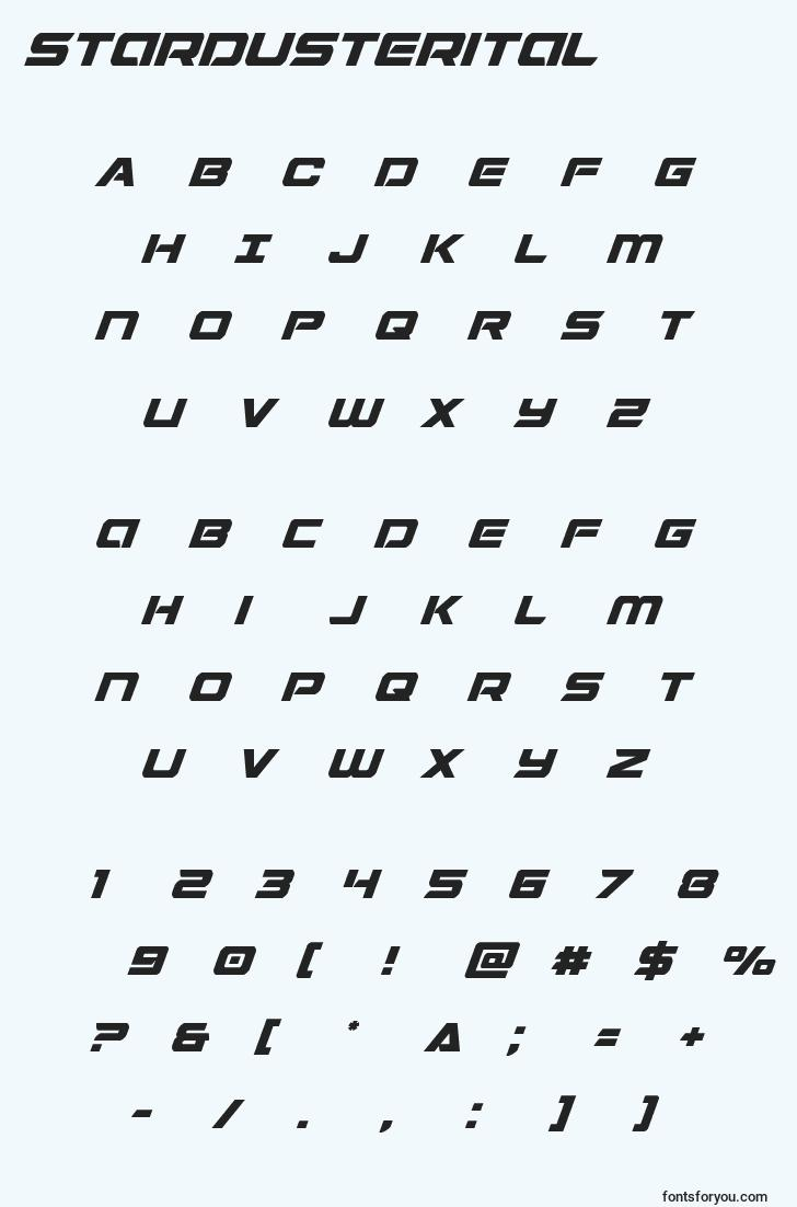 characters of stardusterital font, letter of stardusterital font, alphabet of  stardusterital font