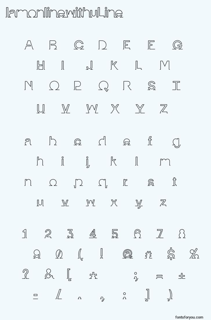 characters of iamonlinewithuline font, letter of iamonlinewithuline font, alphabet of  iamonlinewithuline font