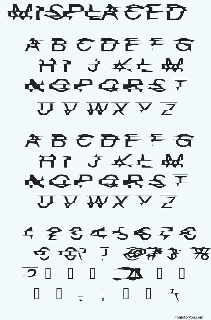 characters of misplaced font, letter of misplaced font, alphabet of  misplaced font