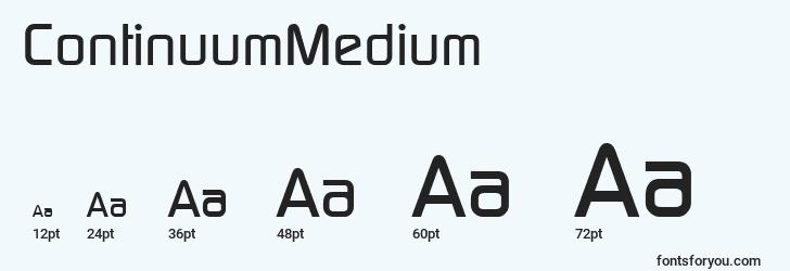 sizes of continuummedium font, continuummedium sizes