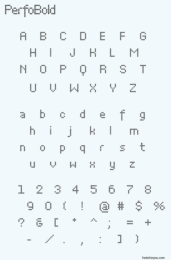 characters of perfobold font, letter of perfobold font, alphabet of  perfobold font