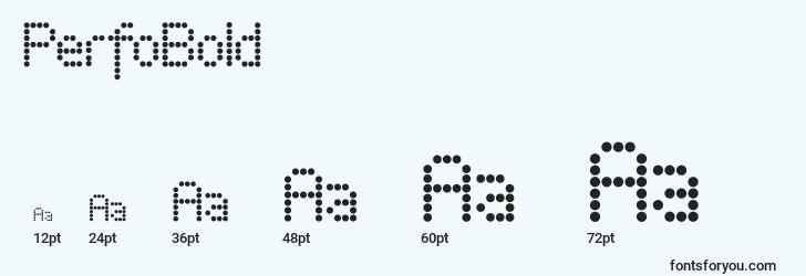 sizes of perfobold font, perfobold sizes