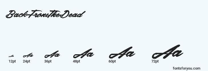sizes of backfromthedead font, backfromthedead sizes