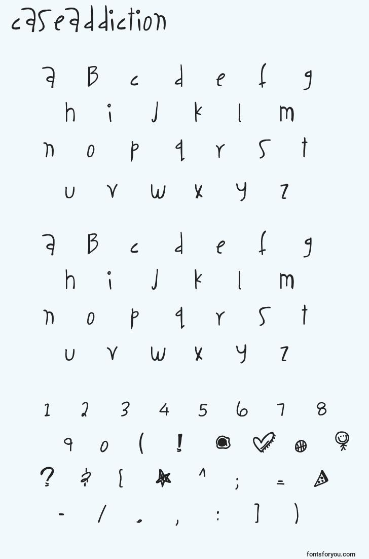 characters of caseaddiction font, letter of caseaddiction font, alphabet of  caseaddiction font
