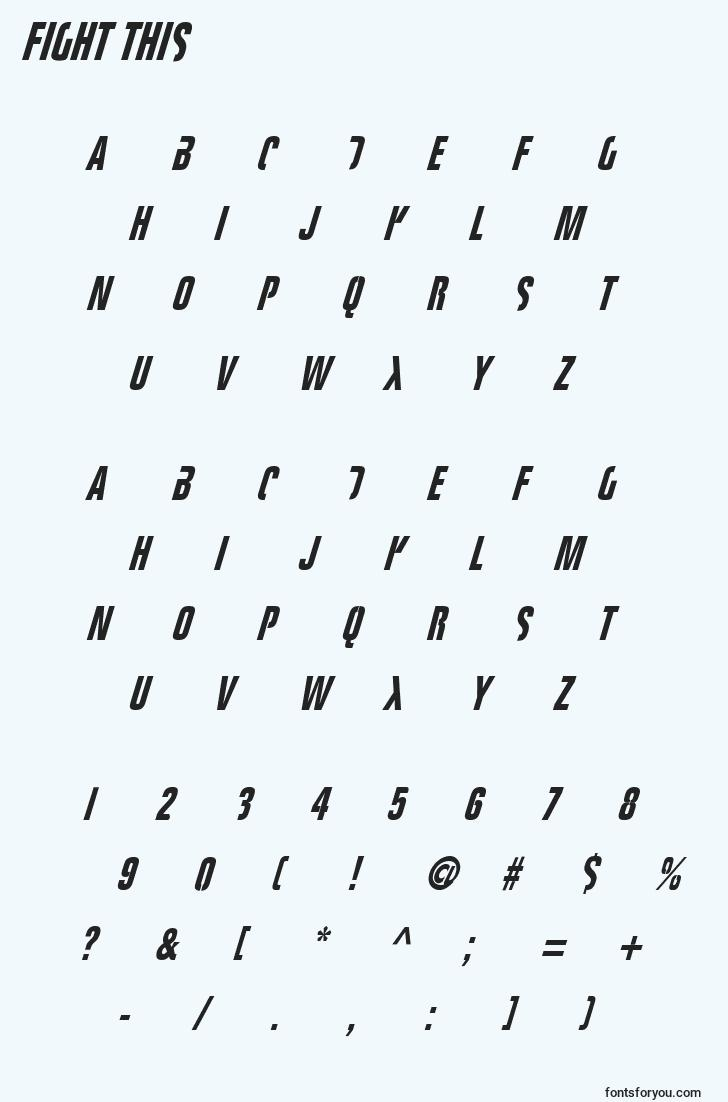 characters of fight this font, letter of fight this font, alphabet of  fight this font