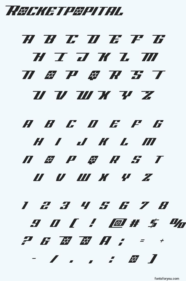characters of rocketpopital font, letter of rocketpopital font, alphabet of  rocketpopital font