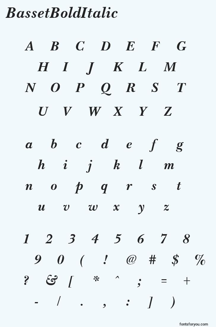 characters of bassetbolditalic font, letter of bassetbolditalic font, alphabet of  bassetbolditalic font