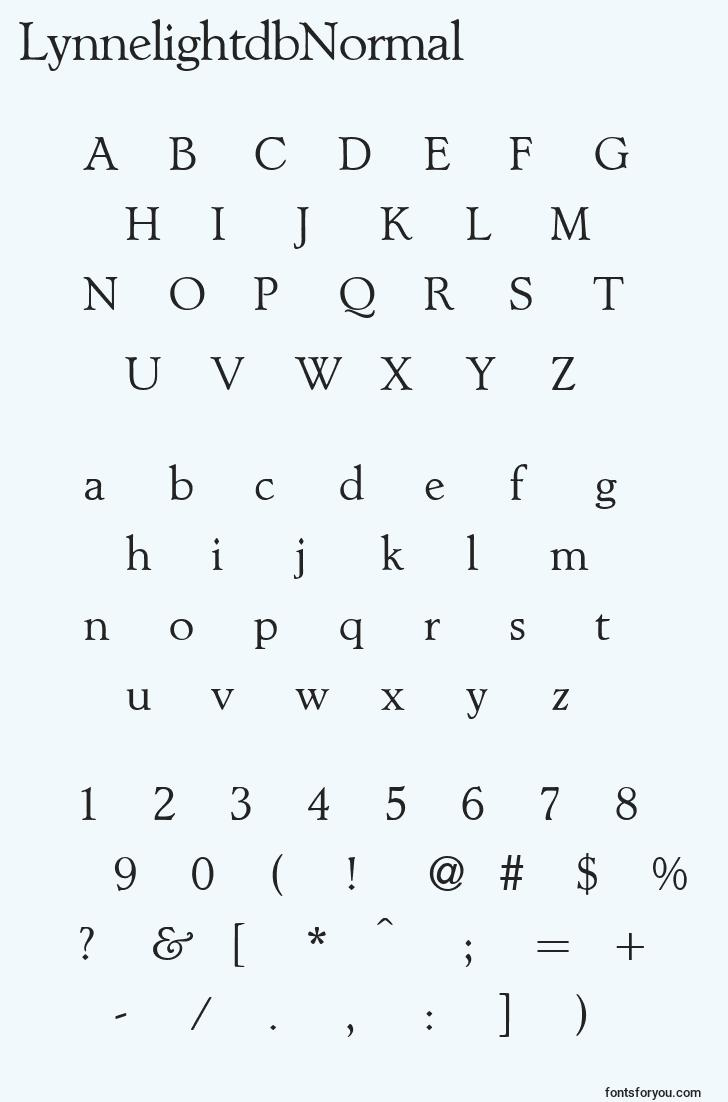 characters of lynnelightdbnormal font, letter of lynnelightdbnormal font, alphabet of  lynnelightdbnormal font
