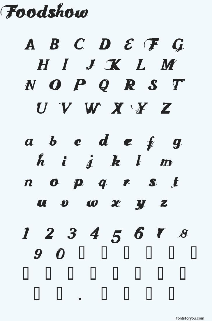characters of foodshow font, letter of foodshow font, alphabet of  foodshow font
