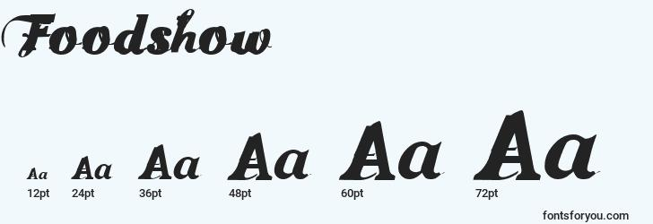 sizes of foodshow font, foodshow sizes