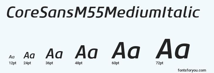 sizes of coresansm55mediumitalic font, coresansm55mediumitalic sizes