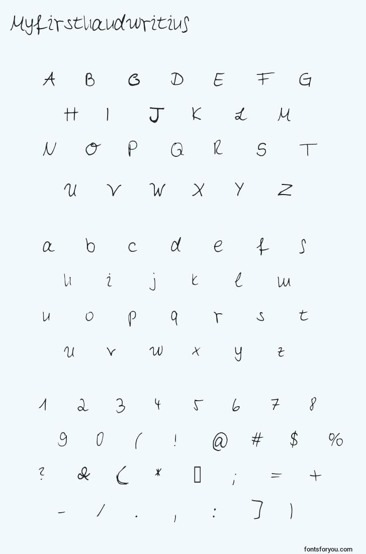 characters of myfirsthandwriting font, letter of myfirsthandwriting font, alphabet of  myfirsthandwriting font