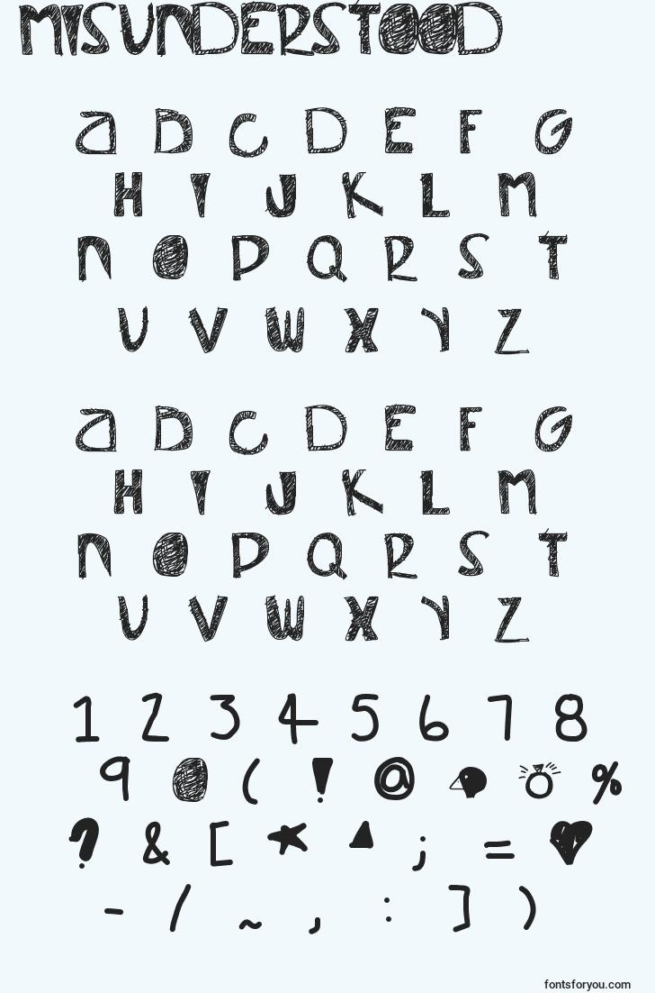 characters of misunderstood font, letter of misunderstood font, alphabet of  misunderstood font