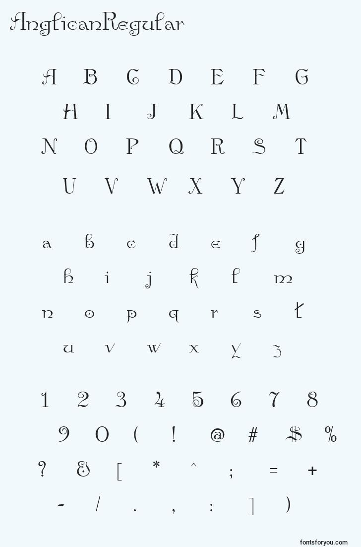 characters of anglicanregular font, letter of anglicanregular font, alphabet of  anglicanregular font