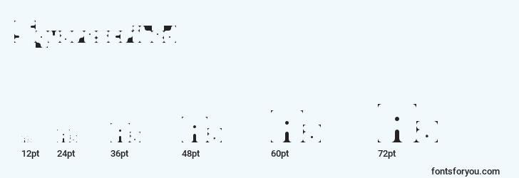 sizes of squarescribed font, squarescribed sizes