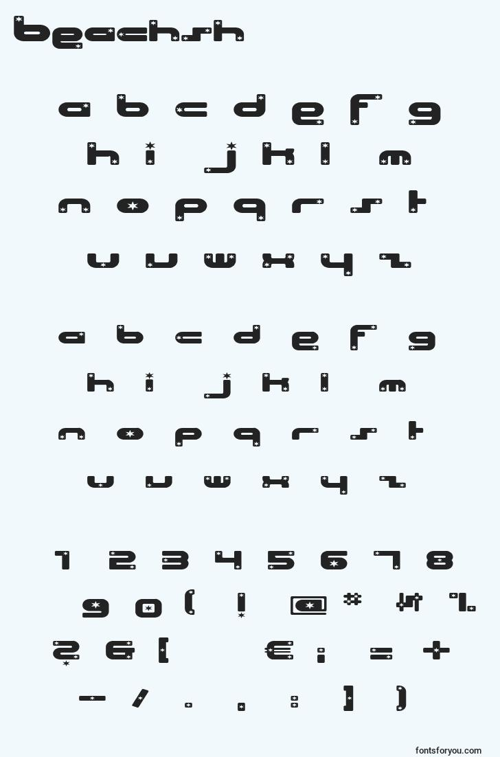 characters of beachsh font, letter of beachsh font, alphabet of  beachsh font