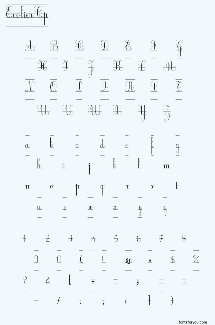 characters of ecoliercp font, letter of ecoliercp font, alphabet of  ecoliercp font