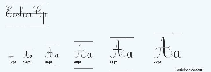 sizes of ecoliercp font, ecoliercp sizes