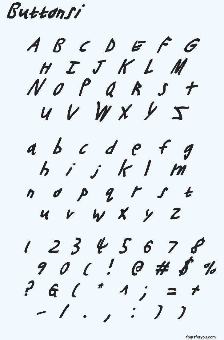 characters of buttonsi font, letter of buttonsi font, alphabet of  buttonsi font