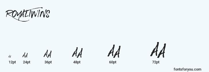 sizes of royaltwins font, royaltwins sizes