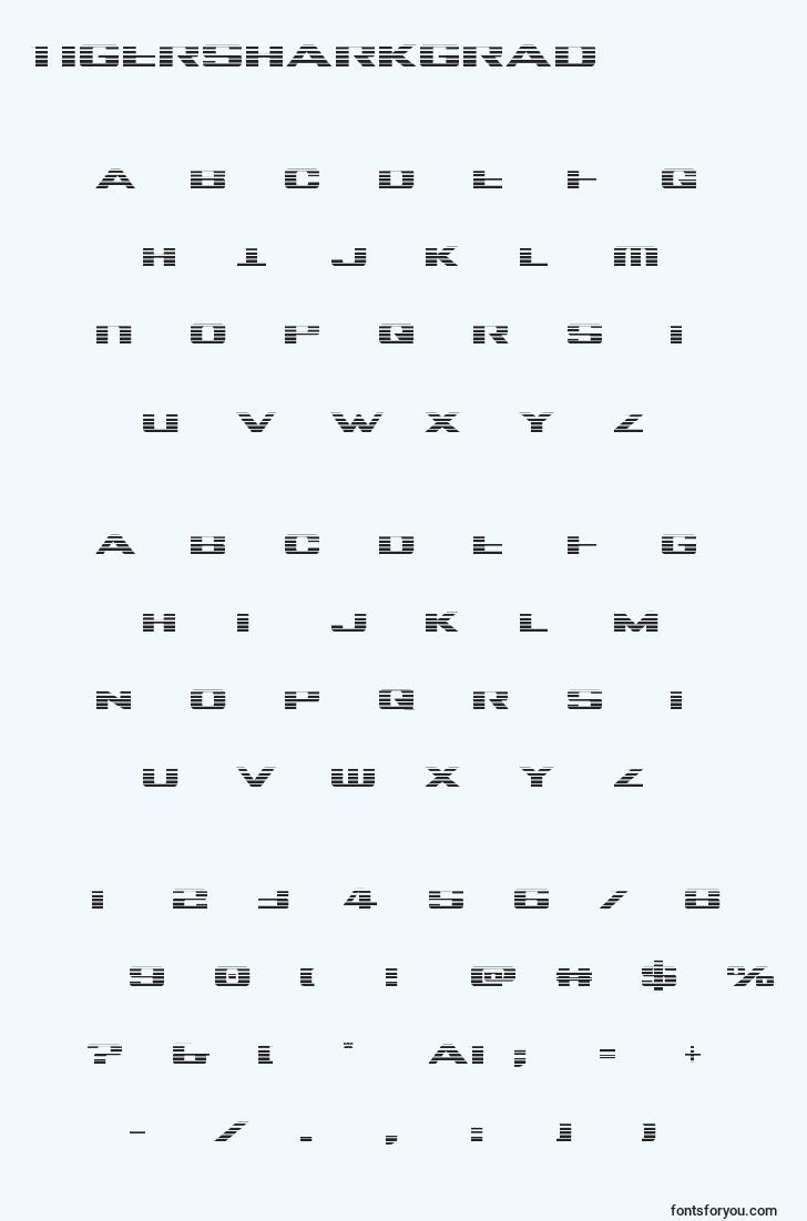 characters of tigersharkgrad font, letter of tigersharkgrad font, alphabet of  tigersharkgrad font