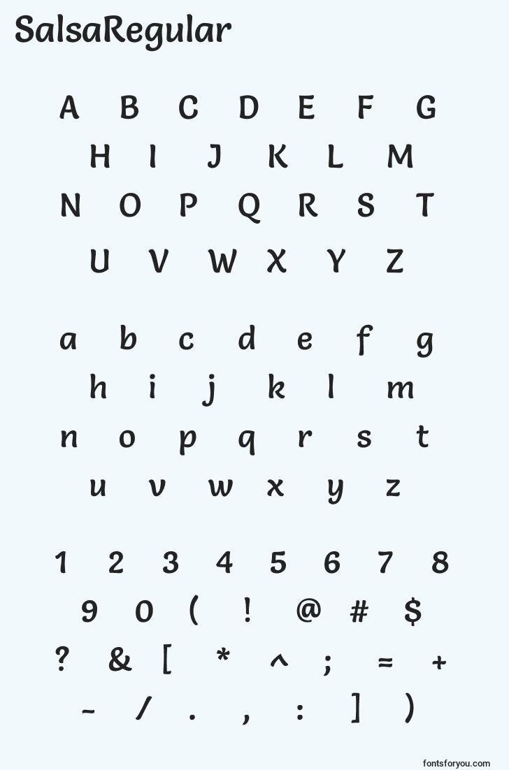 characters of salsaregular font, letter of salsaregular font, alphabet of  salsaregular font