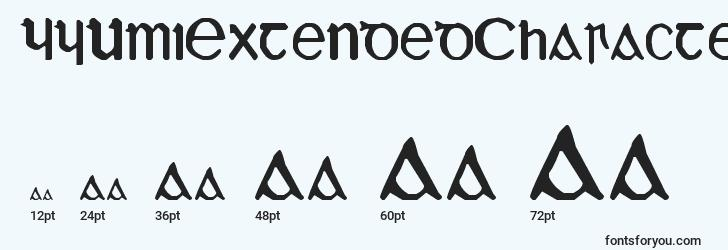 sizes of yyumiextendedcharacters font, yyumiextendedcharacters sizes