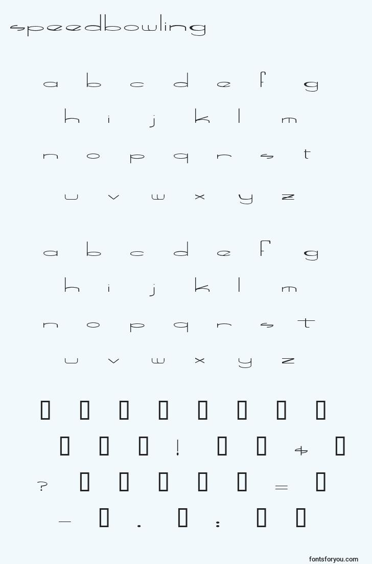 characters of speedbowling font, letter of speedbowling font, alphabet of  speedbowling font