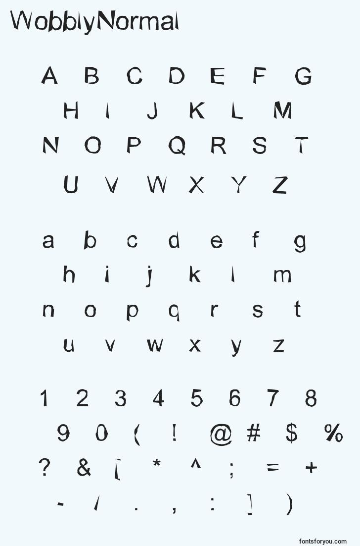 characters of wobblynormal font, letter of wobblynormal font, alphabet of  wobblynormal font