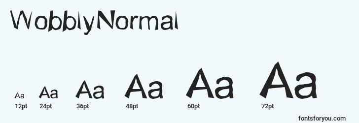sizes of wobblynormal font, wobblynormal sizes