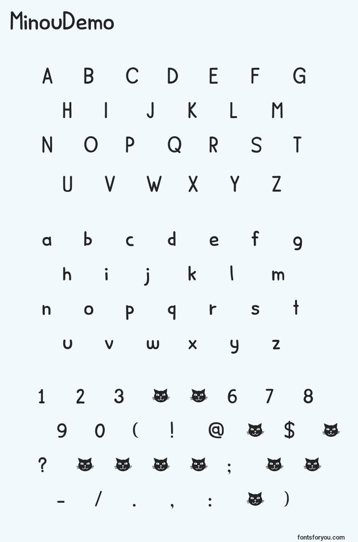 characters of minoudemo font, letter of minoudemo font, alphabet of  minoudemo font