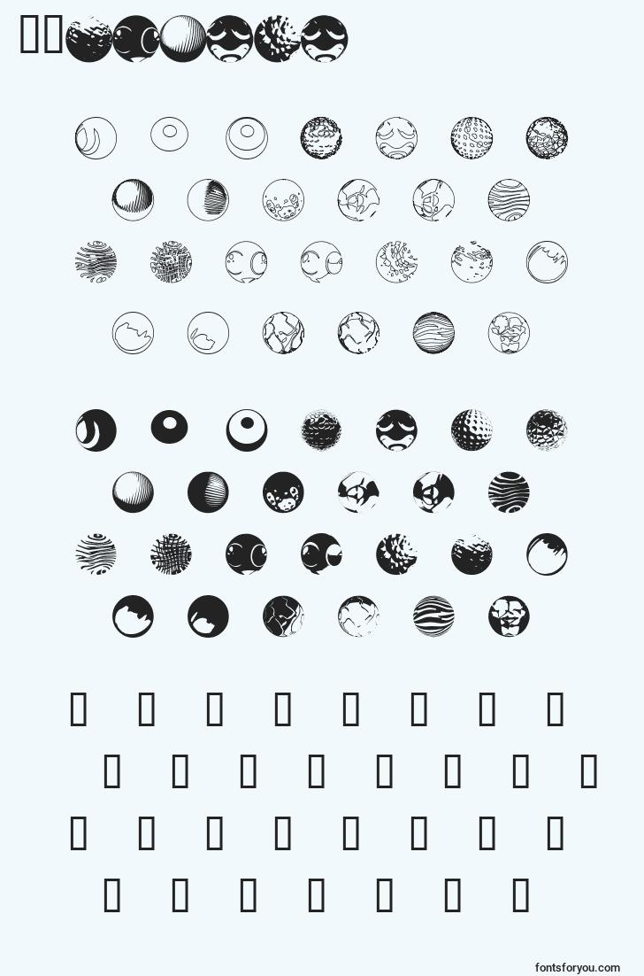 characters of 52sphere font, letter of 52sphere font, alphabet of  52sphere font