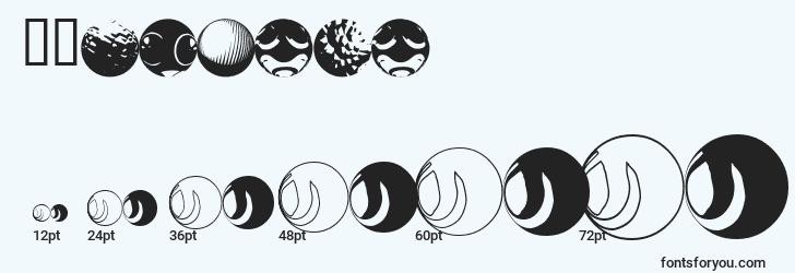 sizes of 52sphere font, 52sphere sizes