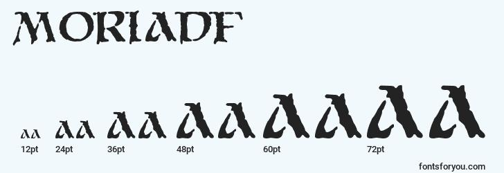 sizes of moriadf font, moriadf sizes