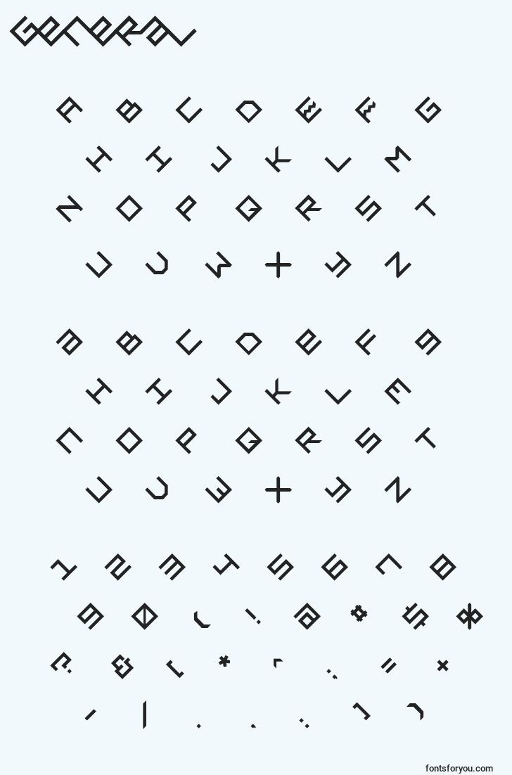 characters of general font, letter of general font, alphabet of  general font