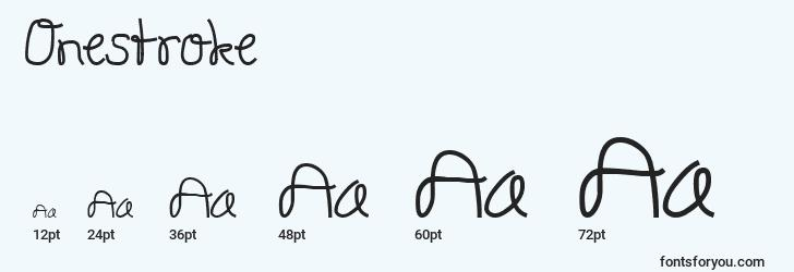 sizes of onestroke font, onestroke sizes