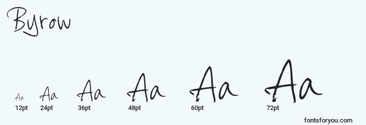 sizes of byrow font, byrow sizes