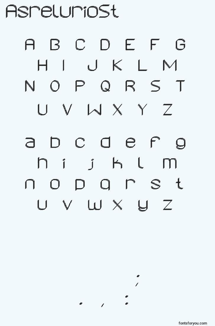 characters of asreluriost font, letter of asreluriost font, alphabet of  asreluriost font