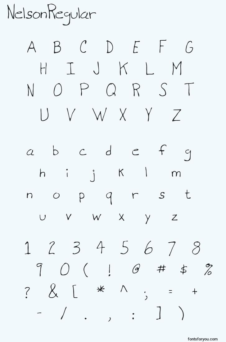 characters of nelsonregular font, letter of nelsonregular font, alphabet of  nelsonregular font