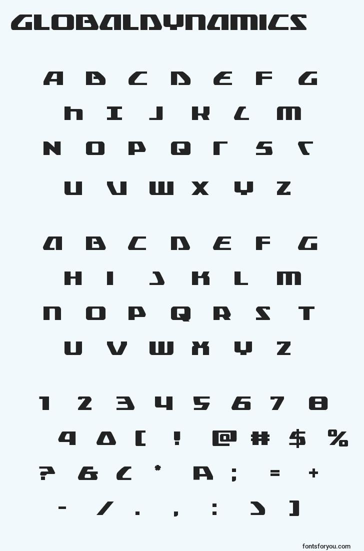characters of globaldynamics font, letter of globaldynamics font, alphabet of  globaldynamics font