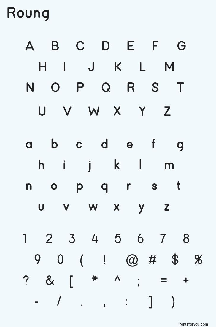 characters of roung font, letter of roung font, alphabet of  roung font
