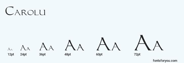 sizes of carolu font, carolu sizes