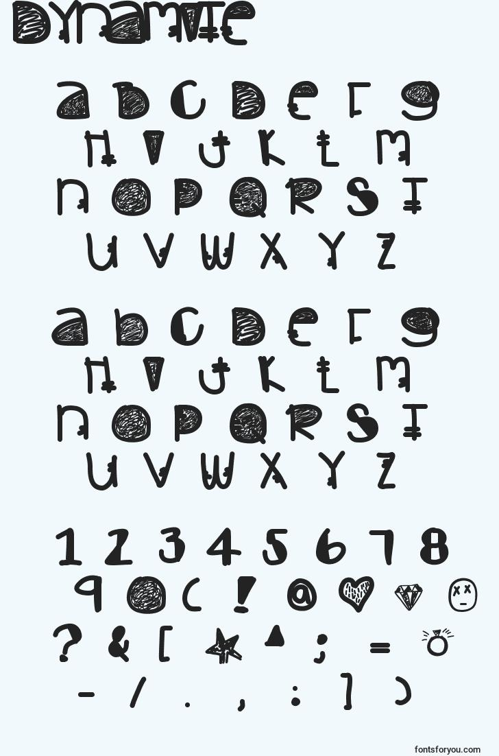 characters of dynamite font, letter of dynamite font, alphabet of  dynamite font